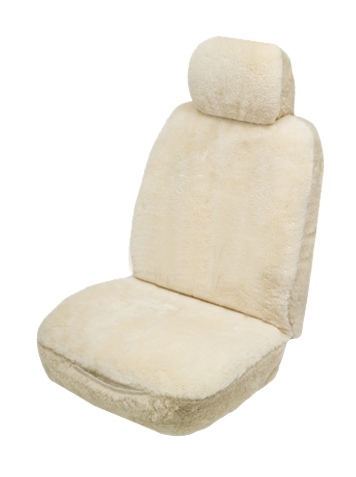 Sheepskin car sear covers - Ivory